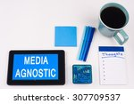 Small photo of Business Term / Business Phrase on Tablet PC - Blue Colors, Coffee, Pens, Paper Clips and note pads on White - White Word(s) on blue - Media Agnostic