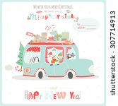 merry christmas and happy new... | Shutterstock .eps vector #307714913