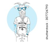 hipster goat with tattoo... | Shutterstock .eps vector #307726793