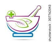 mortar and pestle vector design ... | Shutterstock .eps vector #307762043