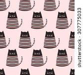 cute cats seamless pattern | Shutterstock .eps vector #307775033