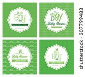 set of labels on textured... | Shutterstock .eps vector #307799483