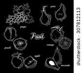 illustration of fruit.  fruit... | Shutterstock . vector #307812113