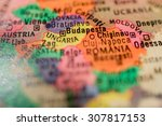 map view of budapest on a... | Shutterstock . vector #307817153