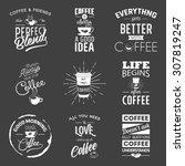 set of vintage wine typographic ... | Shutterstock .eps vector #307819247