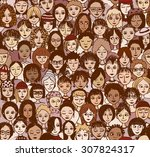 women   hand drawn seamless... | Shutterstock .eps vector #307824317