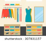 fashion clothes store interior  ... | Shutterstock .eps vector #307831157