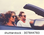 happy young couple driving... | Shutterstock . vector #307844783