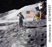 astronaut on lunar  moon ... | Shutterstock . vector #307849037