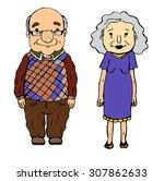 grandma and grandpa blue | Shutterstock .eps vector #307862633