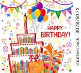 birthday card. celebration... | Shutterstock . vector #307878173