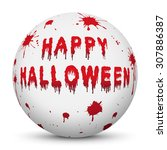 white sphere with bloody happy... | Shutterstock .eps vector #307886387