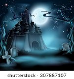 halloween castle grave yard... | Shutterstock .eps vector #307887107
