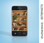 E Book Concept. Bookshelf With...