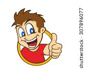 cartoon guy thumbs up character ... | Shutterstock .eps vector #307896077