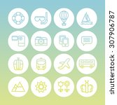 a set of vector line icons for... | Shutterstock .eps vector #307906787