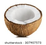 half coconut isolated on a... | Shutterstock . vector #307907573