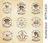 collection of nine pirate logos ... | Shutterstock .eps vector #307911623