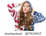 Young Woman In American Flag...