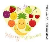 vector image of fruit  funny... | Shutterstock .eps vector #307944563