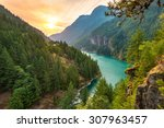 Stock photo scene over diablo lake when sunrise in the early morning in north cascade national park wa usa 307963457