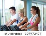 beautiful group of young women... | Shutterstock . vector #307973477