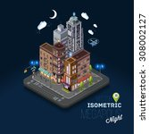 city concept with isometric... | Shutterstock .eps vector #308002127