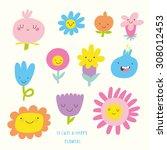cute vector set of flowers... | Shutterstock .eps vector #308012453
