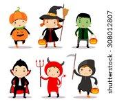 cute kids wearing halloween... | Shutterstock .eps vector #308012807