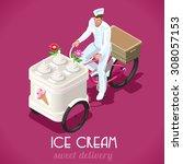 isometric food truck sweet ice... | Shutterstock .eps vector #308057153