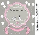 vintage wedding invitation card ... | Shutterstock .eps vector #308076287
