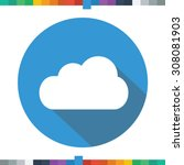 flat cloud icon in a blue... | Shutterstock .eps vector #308081903