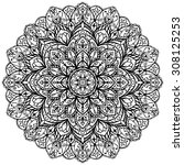 vector  ornate mandala isolated ... | Shutterstock .eps vector #308125253