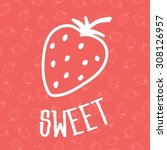 strawberry icon on seamless... | Shutterstock .eps vector #308126957