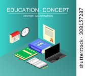 beautiful isometric education... | Shutterstock .eps vector #308157287
