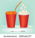 carton bowl full of popcorn and ... | Shutterstock .eps vector #308166197