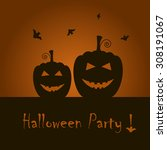 dark  happy halloween... | Shutterstock .eps vector #308191067