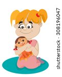 girl with a doll in hands | Shutterstock .eps vector #308196047