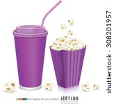 carton bowl full of popcorn and ... | Shutterstock .eps vector #308201957