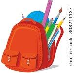 vector children s backpack with ... | Shutterstock .eps vector #308211137