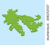 a 3d map on blue water... | Shutterstock . vector #308252537