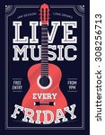beautiful 'live music every... | Shutterstock .eps vector #308256713