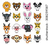 cute animal set  vector ... | Shutterstock .eps vector #308259587