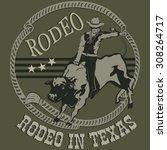 rodeo cowboy riding a wild bull ...   Shutterstock .eps vector #308264717