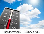 thermometer indicates high...   Shutterstock . vector #308275733