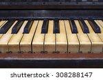 Closeup Of Old Piano Keyboard
