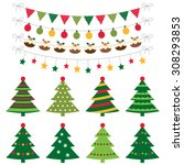 christmas trees and decoration... | Shutterstock .eps vector #308293853