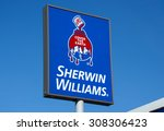 Small photo of RICHFIELD, MN/USA - August 12, 2015: Sherwin-Williams paint store sign and logo. Sherwin Williams Company is an American company in the general building materials industry.
