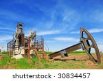 Abandoned Oil Pump Jack In Field