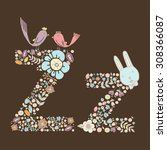 the letter z. bright floral... | Shutterstock .eps vector #308366087